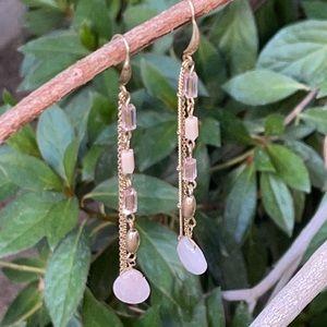 Anthropologie Rose Quartz Crystal Dangle Earrings